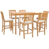Dayne 7 Piece Teak Bar Height Dining Set