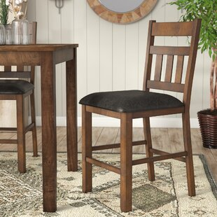Osborne Ladderback Upholstered Bar Stool (Set of 2) Loon Peak