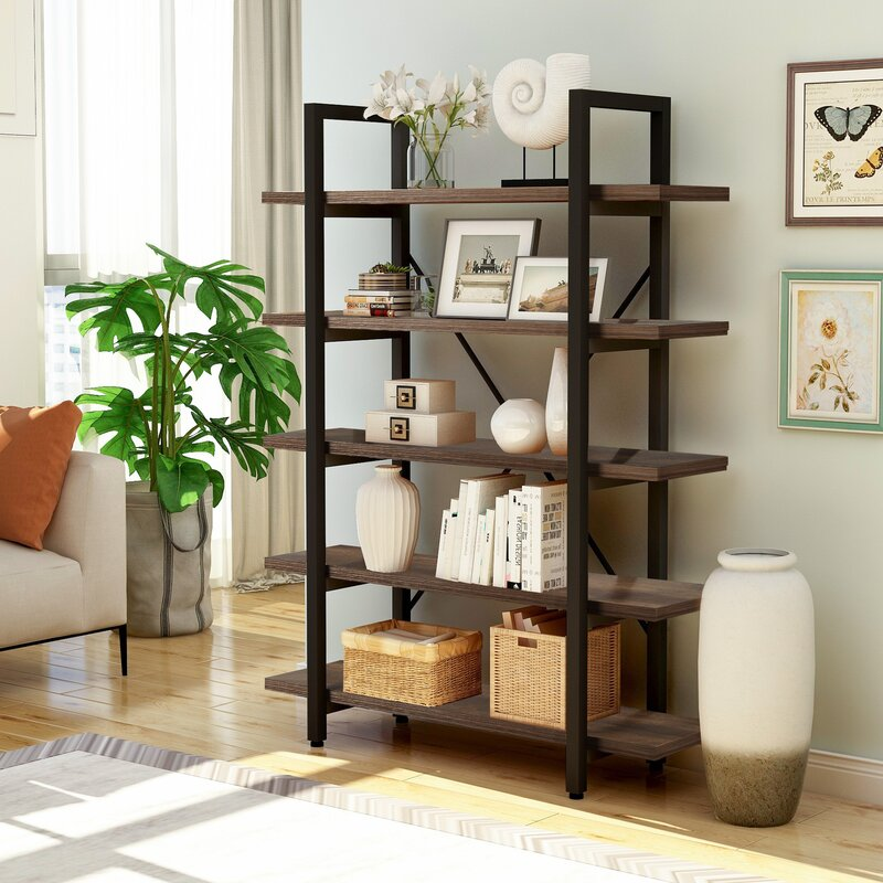 17 Stories 5 Tier Industrial Bookcase With Rustic Wood And Metal Frame Large Open Bookshelf For Living Room Wayfair Ca