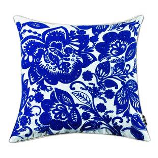 Jacobean Embroidered Cotton Throw Pillow