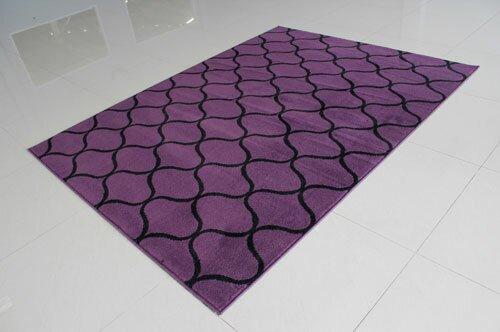 Ebern Designs Rattew Power Loom Purple Black Rug Wayfair