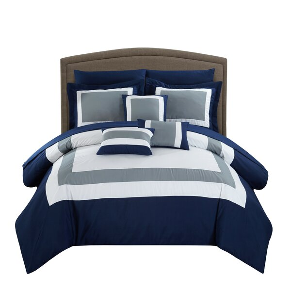Blue Gray White Modern Striped 7 pc Comforter Set Twin Full Queen King Bed Bag