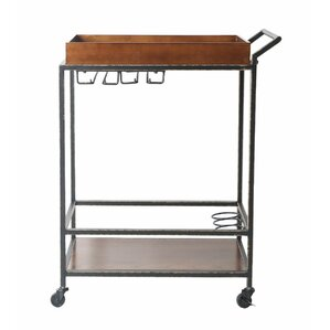 Jacqulyn 2 Tier Tube Bar Cart by Williston Forge
