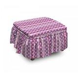 Polka Dot Stripes Retro 2 Piece Box Cushion Ottoman Slipcover Set by East Urban Home