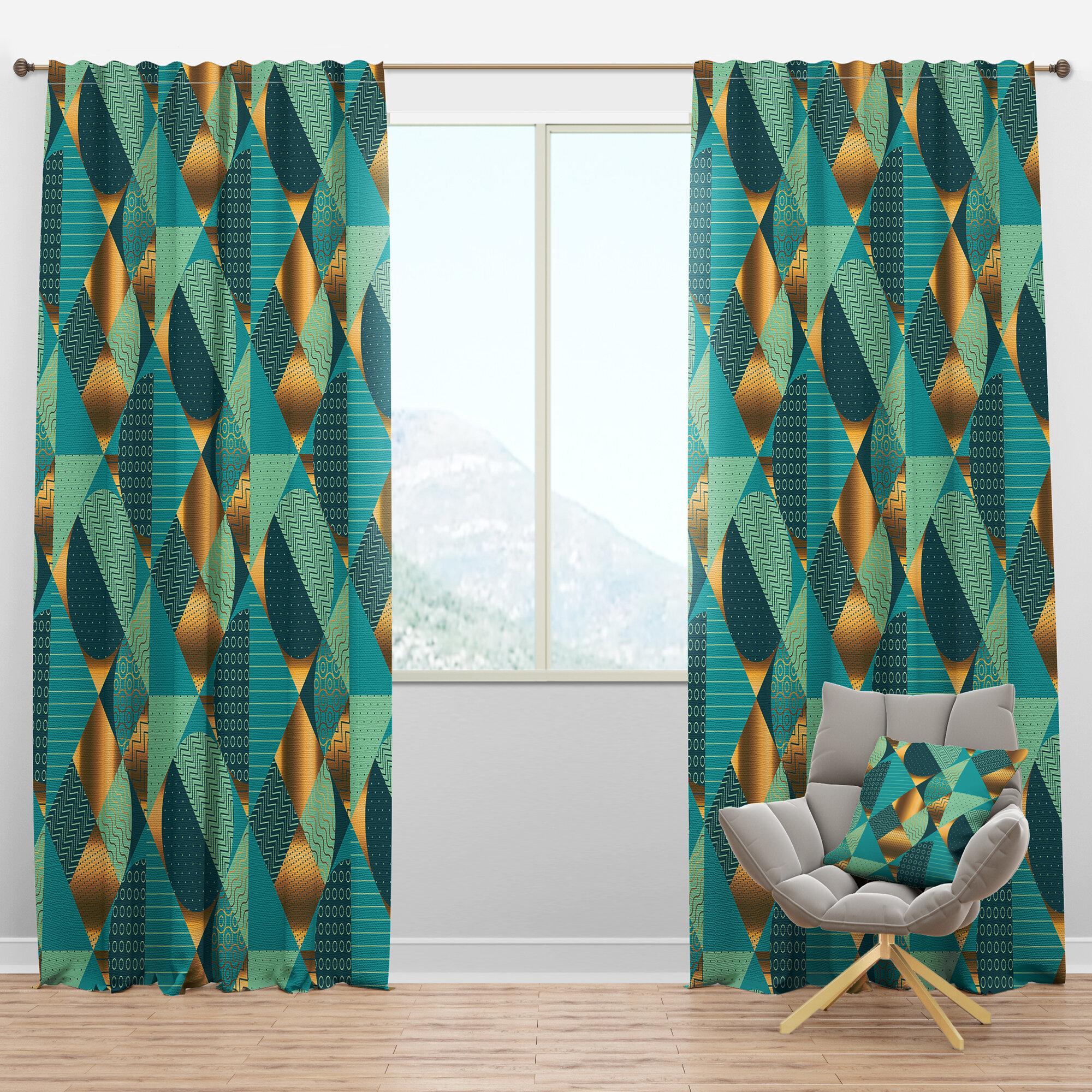 Designart Mid Century Dynamics Ii Geometric Semi Sheer Thermal Rod Pocket Curtain Panels Wayfair