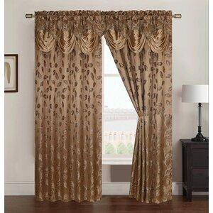 Van Buren Natural/Floral Semi-Sheer Rod Pocket Single Curtain Panel