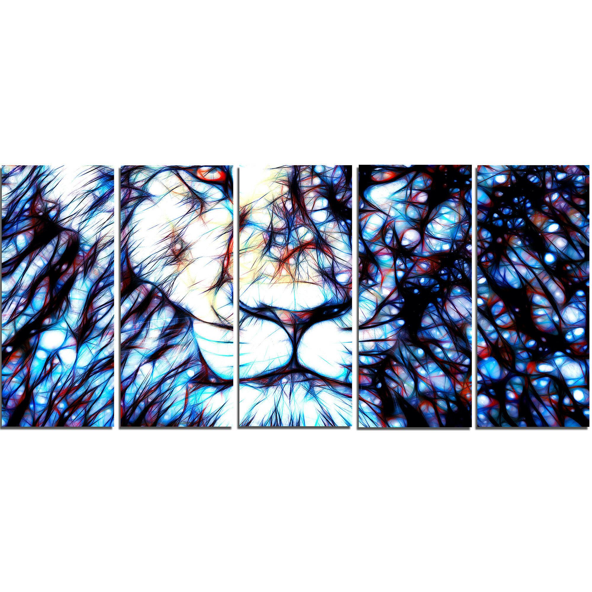Faire Une Separation Entre 2 Pieces designart metal 'leader of the pack lion' 5 piece graphic