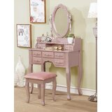 Sheehan Solid Wood Vanity Set with Stool and Mirror by Rosdorf Park