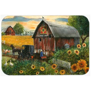 Sunflower Country Paradise Barn Glass Cutting Board
