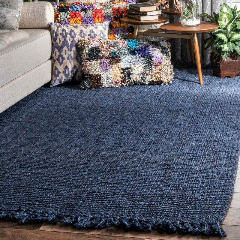 Tufted Jute Sisal Navy Blue Area Rug