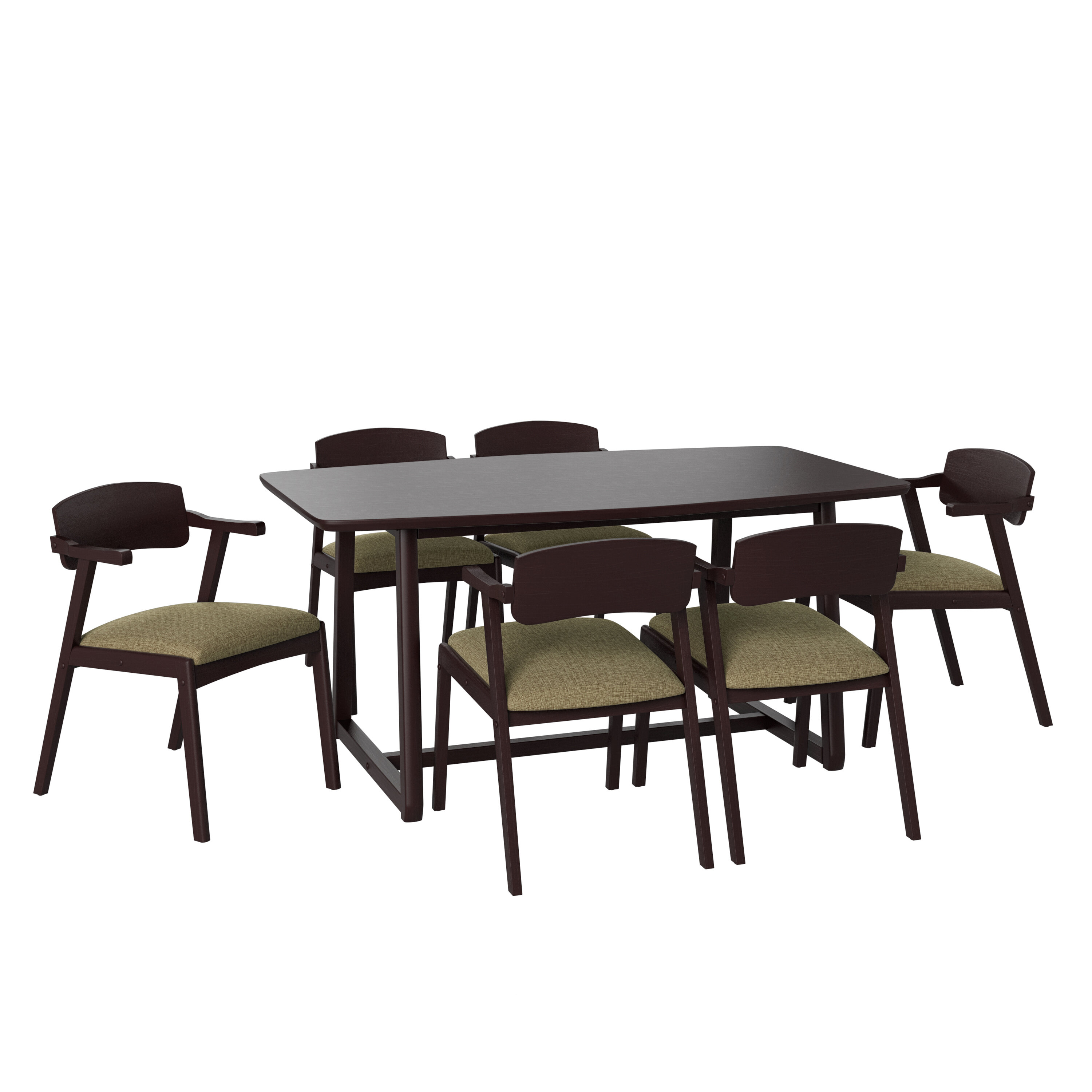 George Oliver Umstead 7 Piece Rubberwood Solid Wood Dining Set Wayfair