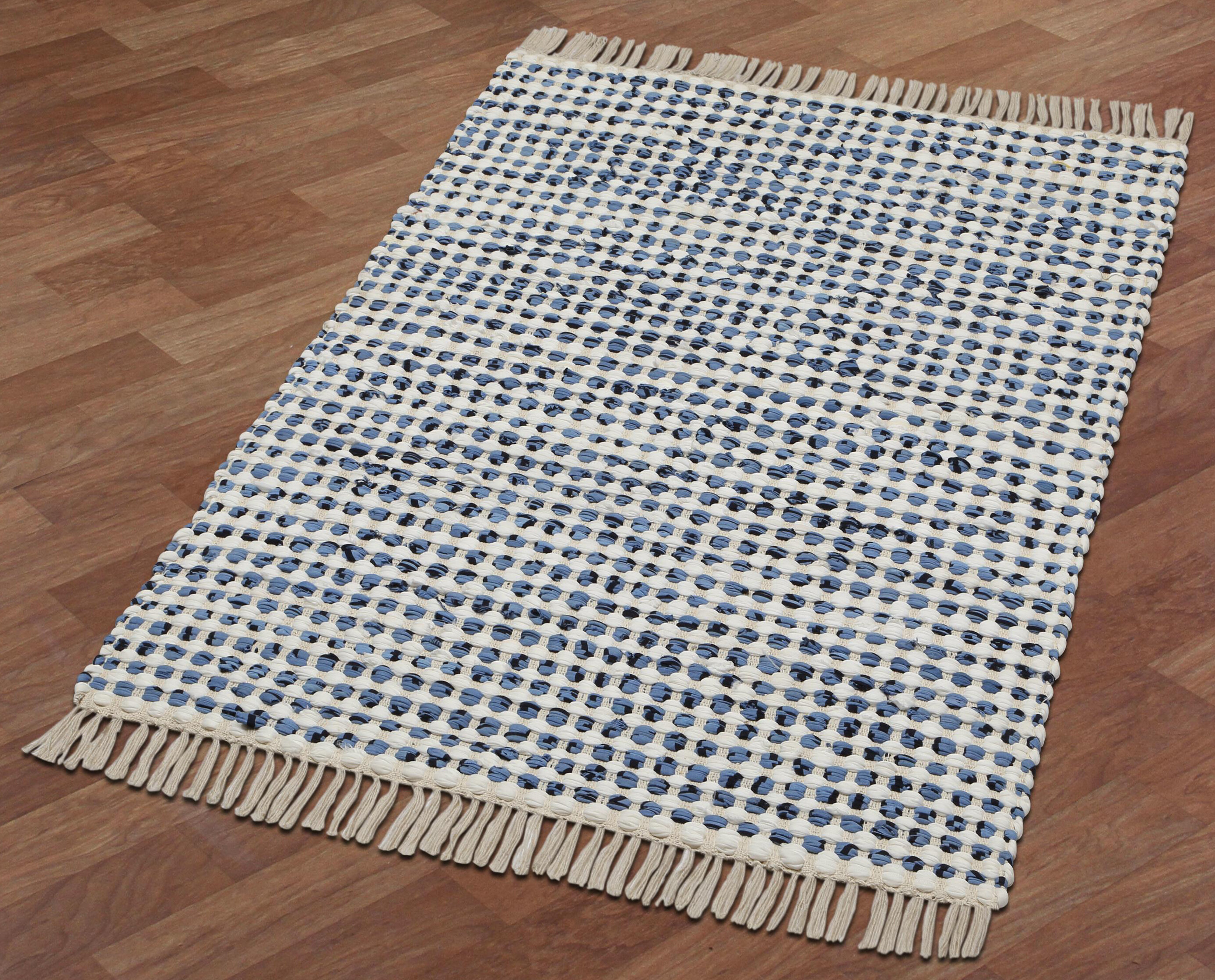 Bruges Hand Loomed Cotton Bluewhite Area Rug Reviews Joss Main
