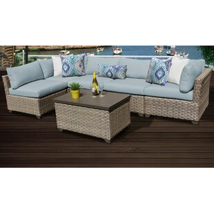 Monterey Outdoor 6 Piece Sectional Seating Group With Cushions by TK Classics Today Only Sale