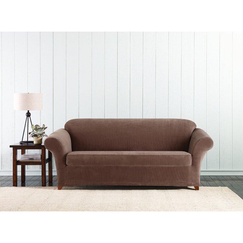 Stretch Corduroy Box Cushion Sofa Slipcover