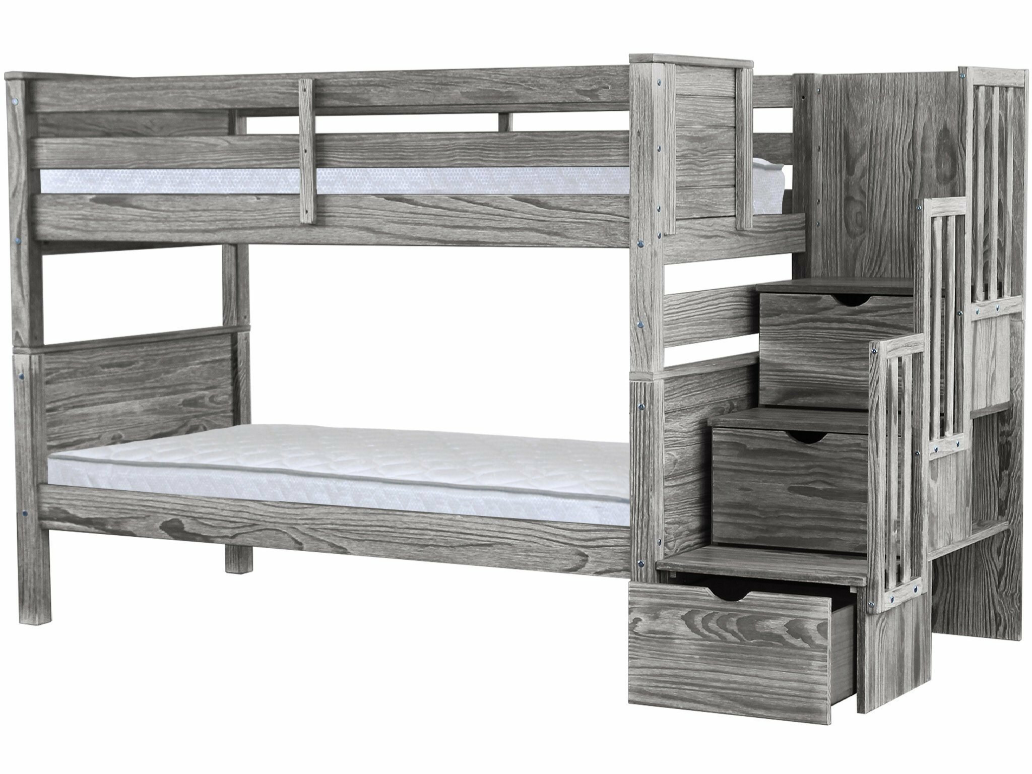 Flitwick Twin Over Twin Stairway Bunk Bed With Drawers