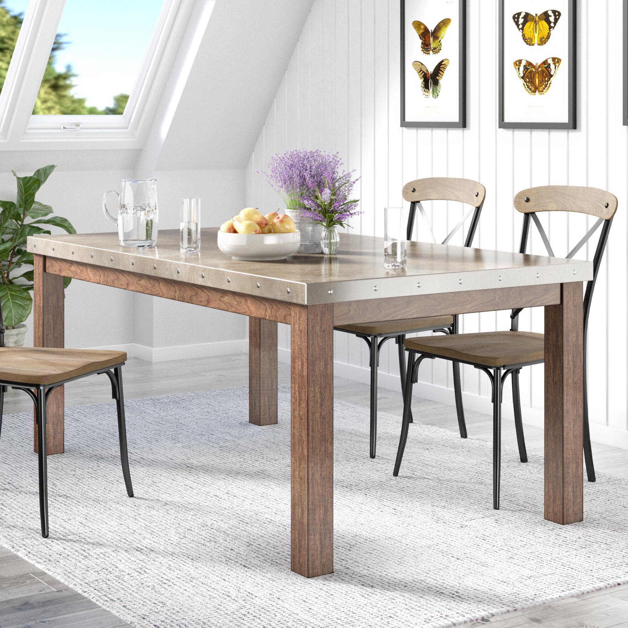 Lark Manor Stainless Steel Top Dining Table & Reviews | Wayfair
