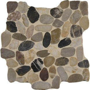 Mix River Random Sized Quartz Pebble Mosaic Tile in Gray/Beige