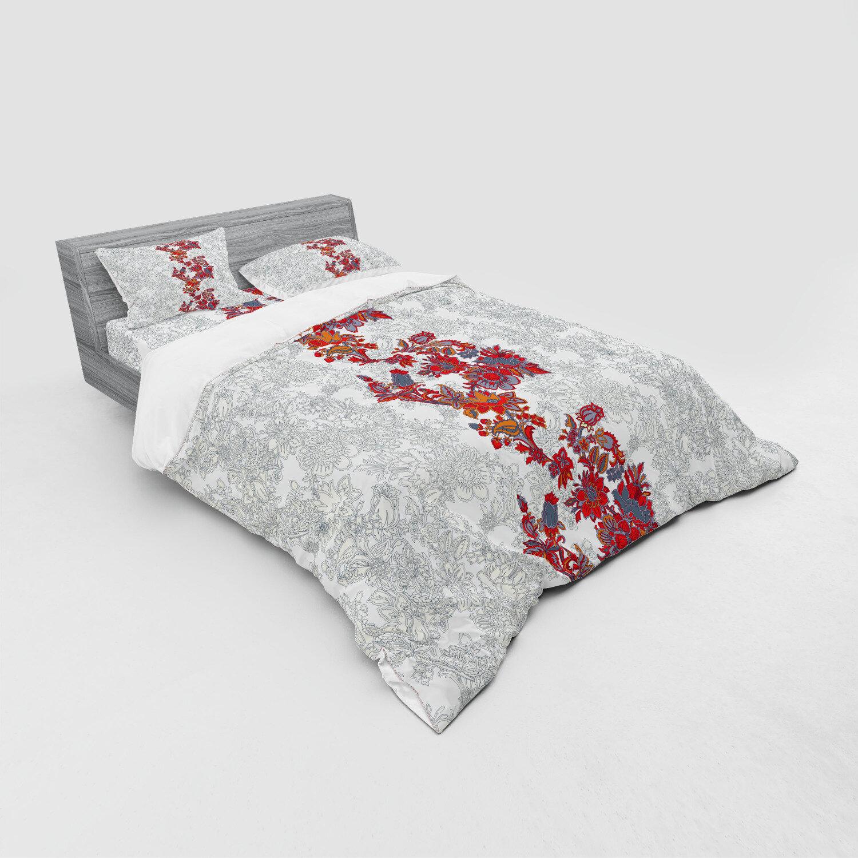 East Urban Home Romantic Boho Narcissus Magic Magnolia Rose Vibrant Print Duvet Cover Set Wayfair