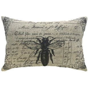 Burtville Decorative Bee Linen Lumbar Pillow
