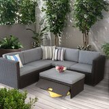 Catalda 4 Piece Sectional Seating Group with Cushions by Latitude Run®