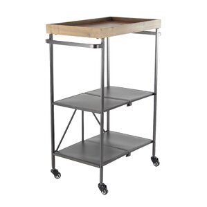 Janita Modern 3-Tiered Iron and Fir Wood Storage Bar Cart with Caster Wheels by Williston Forge