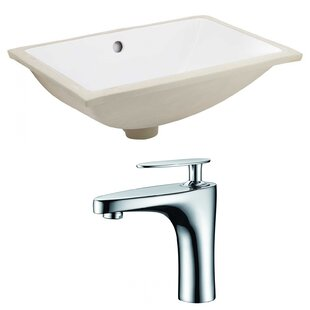 Top Reviews Ceramic Rectangular Undermount Bathroom Sink with Faucet and Overflow By American Imaginations