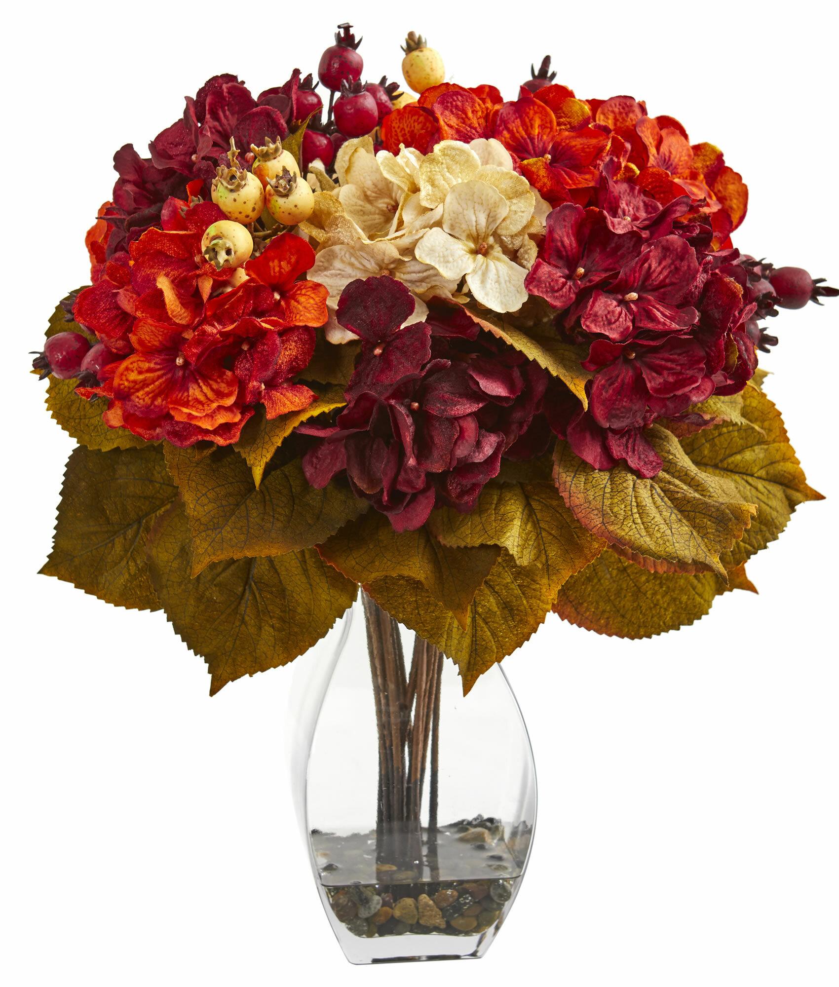 Charlton Home Artificial Autumn Hydrangea Floral Arrangement In Vase Wayfair