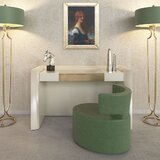 Lundquist Vanity Set with Stool and Mirror by Everly Quinn