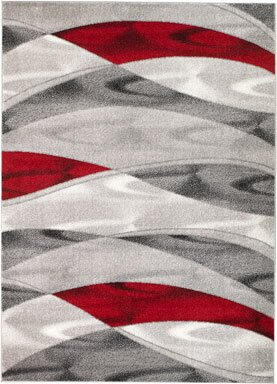 Grimes Gray Red Area Rug