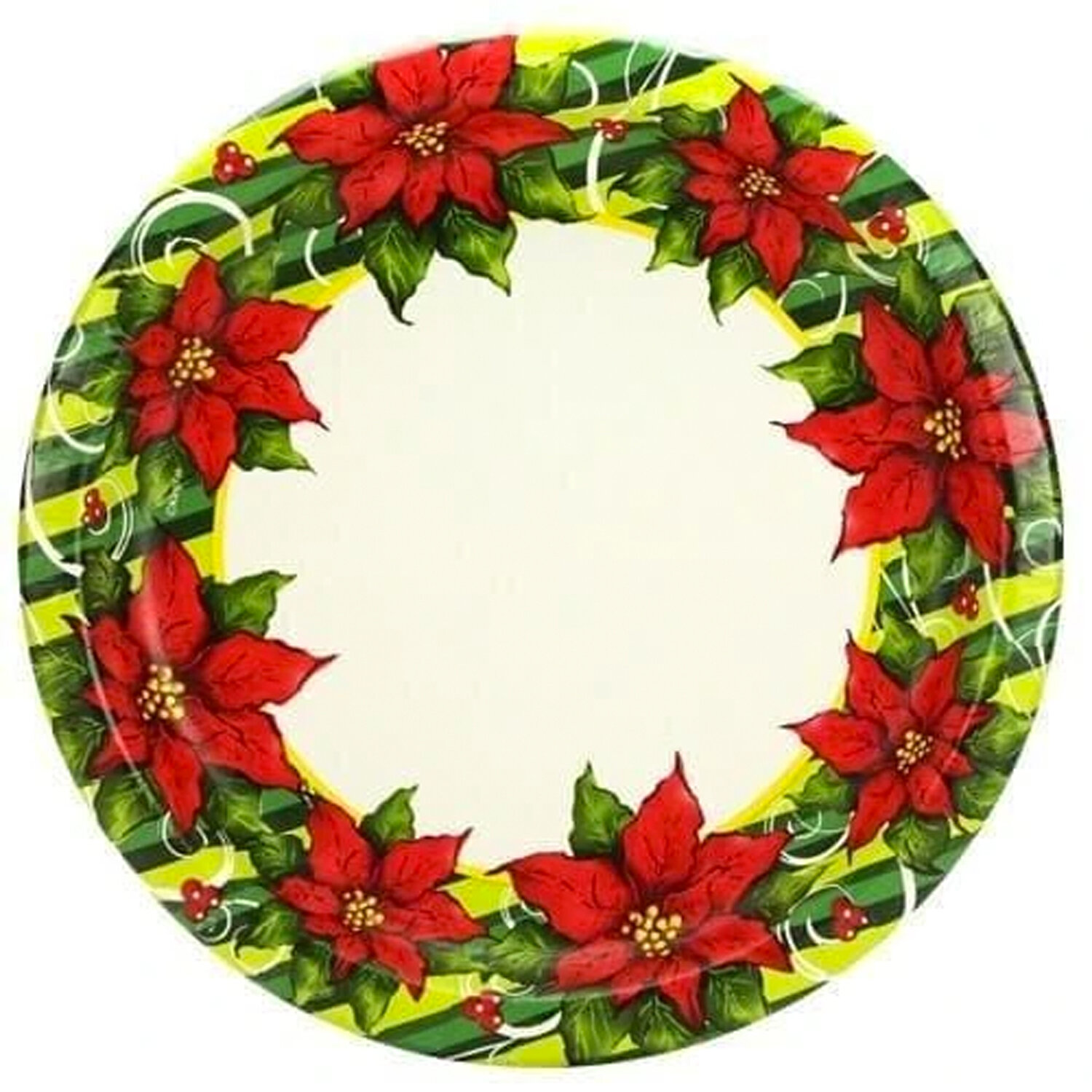 Nicolefantinicollection Poinsettia Wreath Premium Heavy Weight Paper Disposable Dinner Plate Wayfair