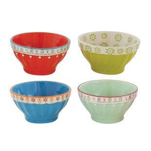 Edelstein Round Stoneware 4 Piece Fluted Bowl Set