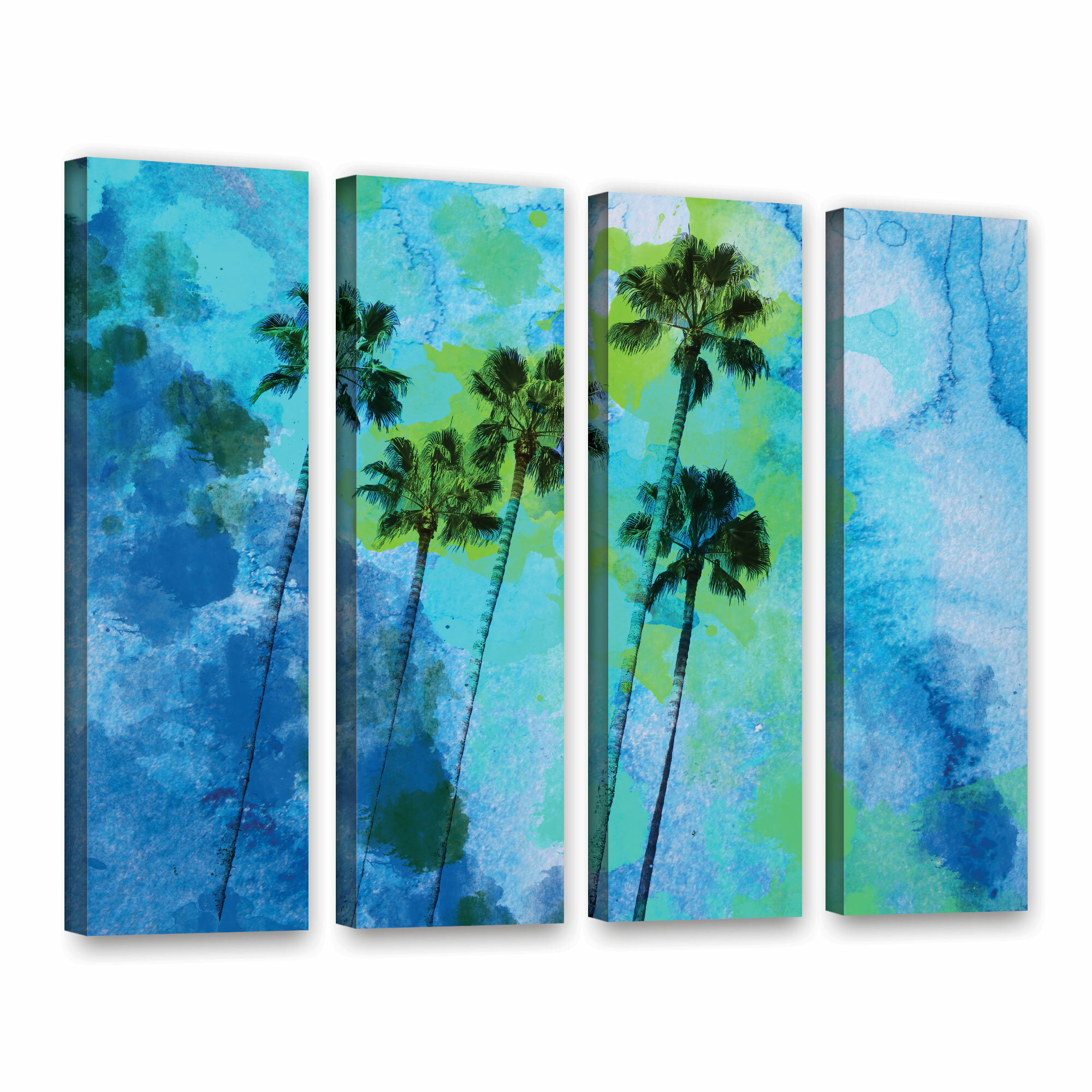 Bay Isle Home Palm Trees On The Beach 4 Piece Painting Print On Wrapped Canvas Set Wayfair