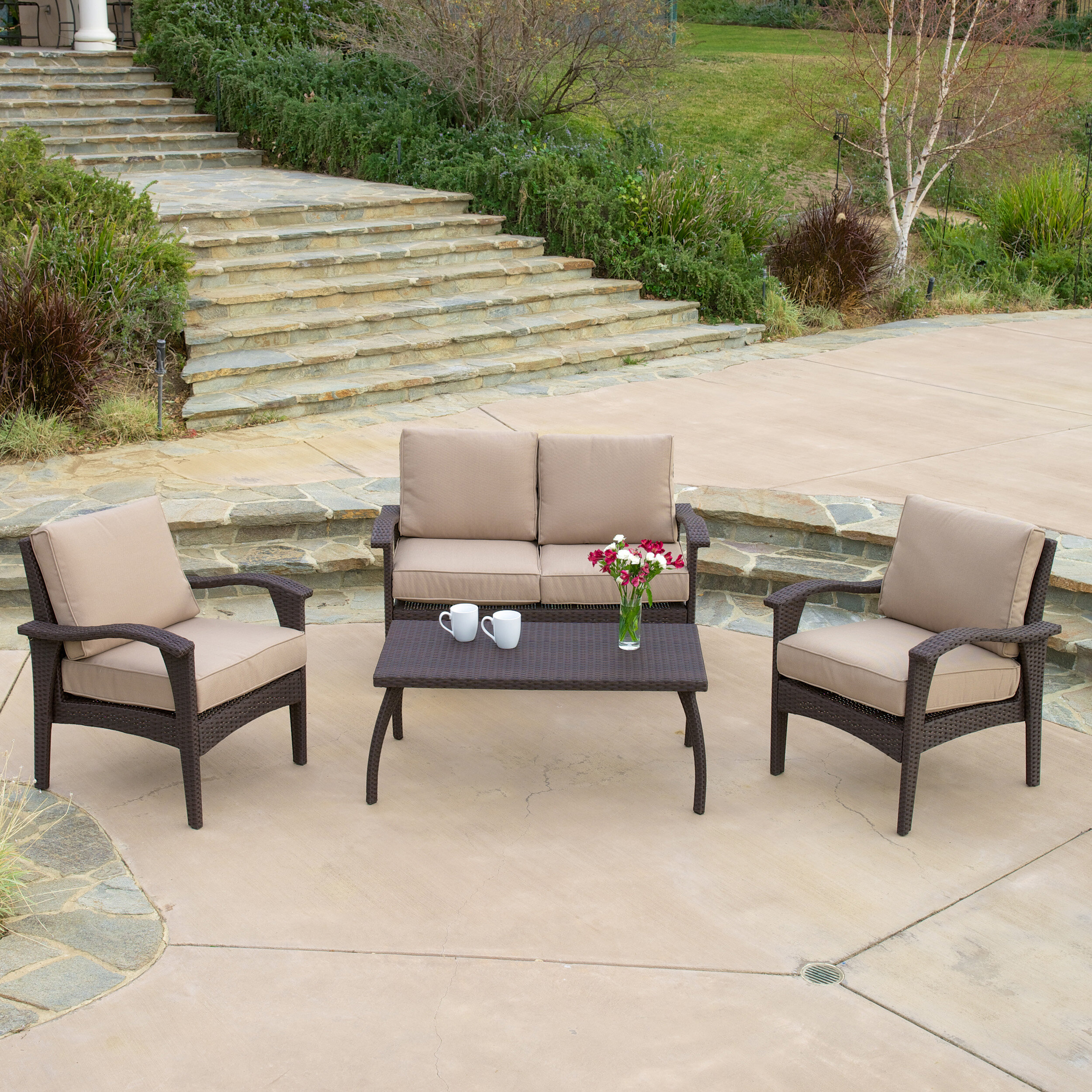 Three Posts Guilford 4 Piece Rattan Sofa Seating Group With Cushions