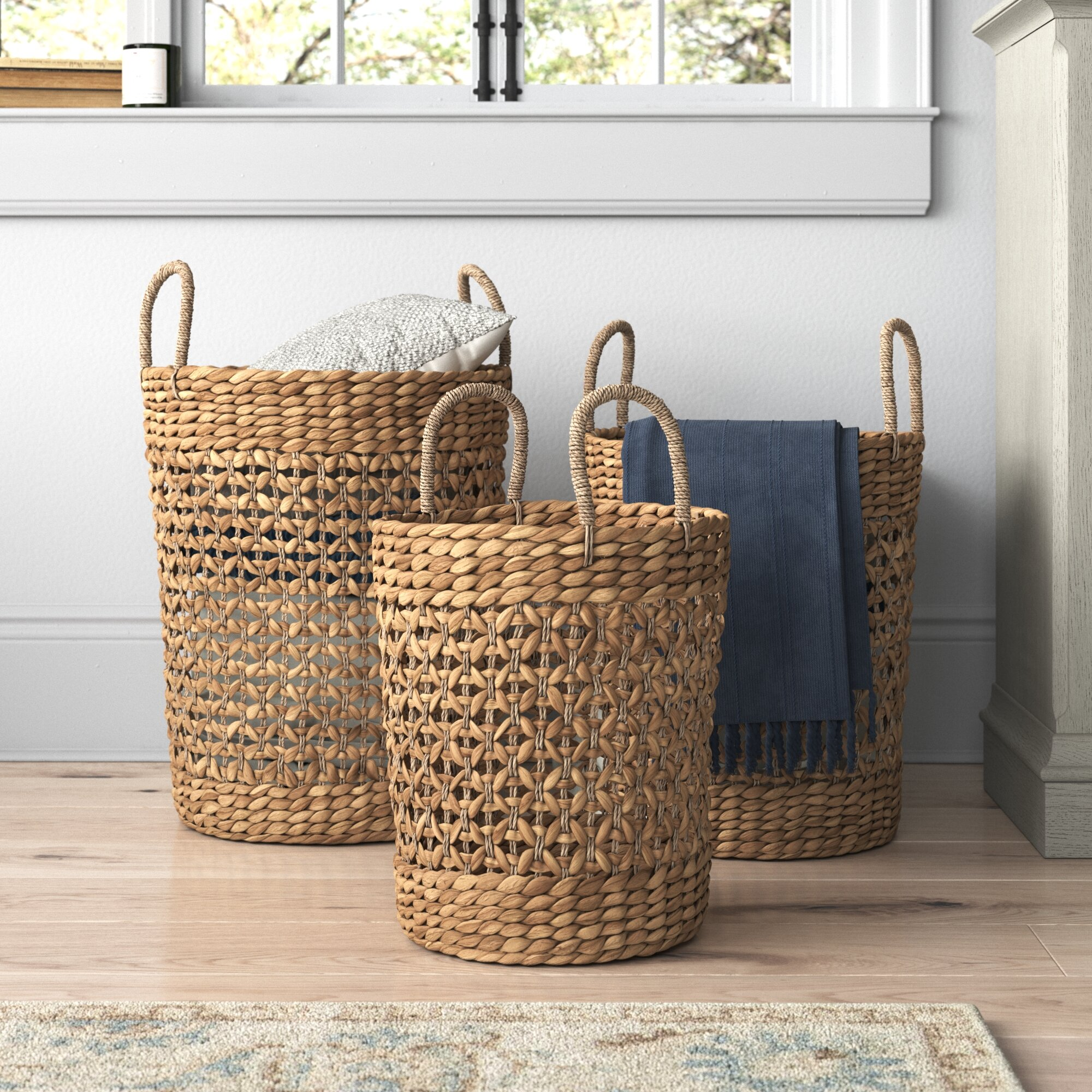Fairport Seagrass 3 Piece Wicker Basket Set Reviews Birch Lane