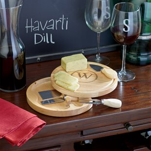 Aiken Monogrammed 5-Piece Cheese Board Set by Cathys Concepts New Design