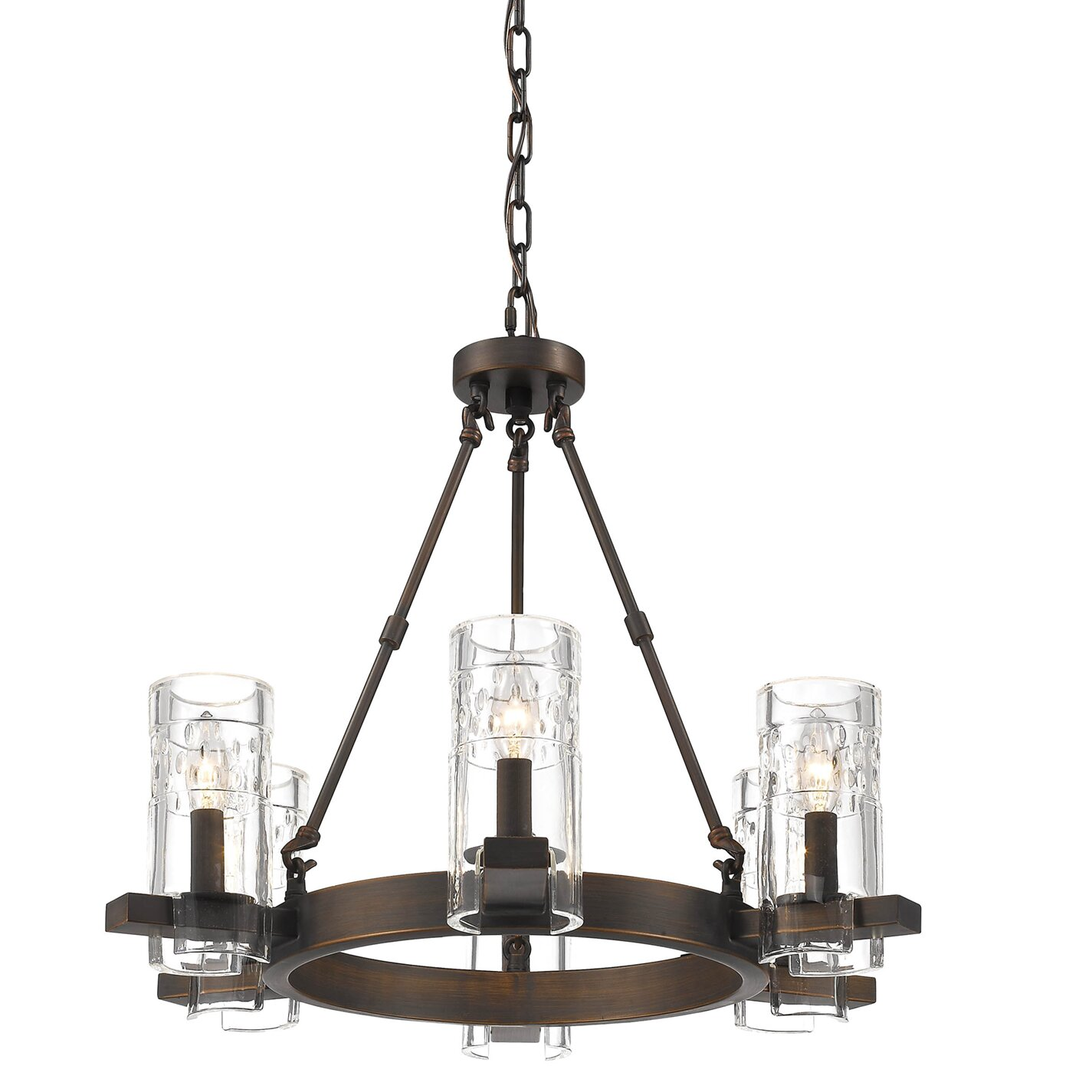 Union rustic khan 6 light wagon wheel chandelier wayfair