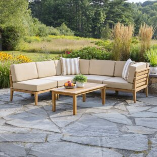 Ordinaire Bali 6 Piece Teak Sectional Set With Cushions
