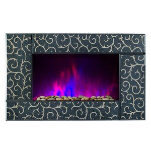 Pebble and Log Interchangeable Wall Mounted Electric Fireplace