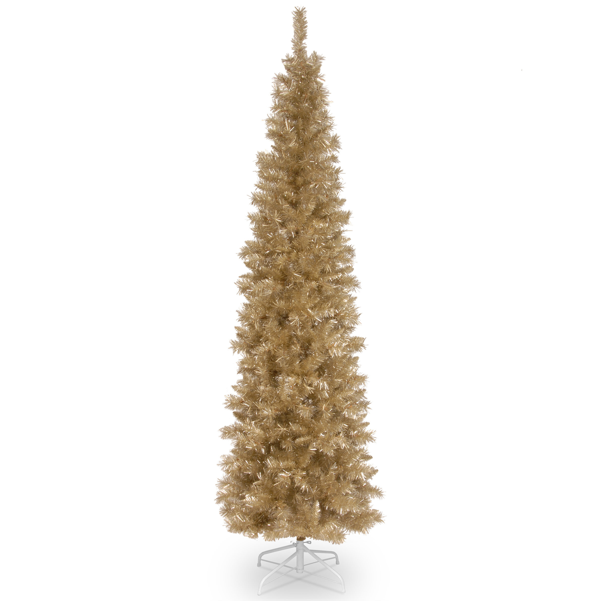 Champagne Gold 7 Fir Artificial Christmas Tree With Metal Stand Reviews Joss Main