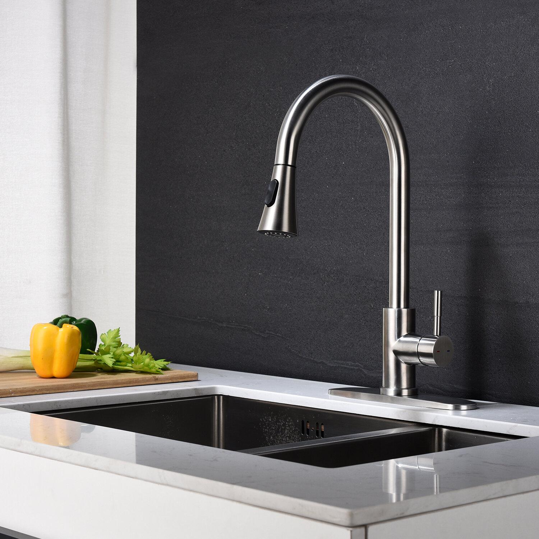 Jaxdenmax Pull Down Single Handle Kitchen Faucet Wayfair