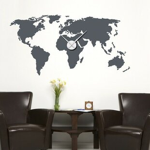 Large world map wall decal wayfair world map wall clock wall decal gumiabroncs Image collections