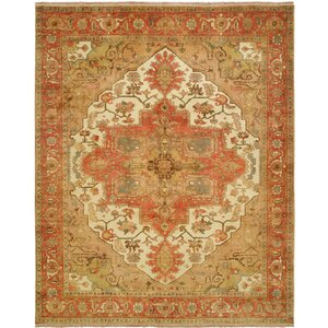 Jules Serapi Hand-Knotted Beige/Orange Area Rug