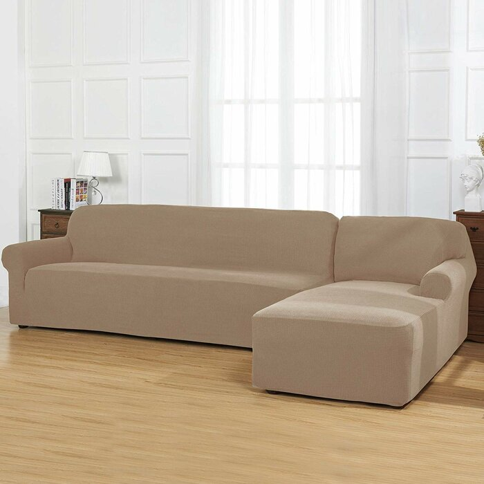 L-Shaped Jacquard Stretch Box Cushion 2 Piece Sofa and Chaise Lounge  Slipcover Set