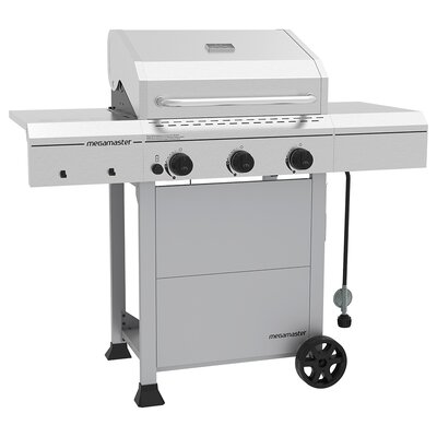 3-Burner Propane Gas Grill with Side Shelves Megamaster