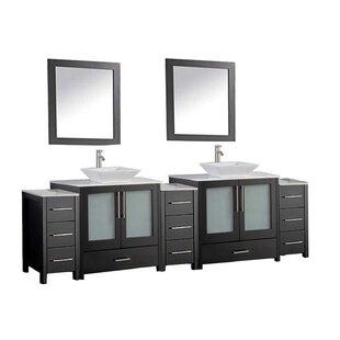 Powley 96 Double Sink Bathroom Vanity Set with Mirror