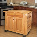 Quattrucci Kitchen Island with Butcher Block Top by Winston Porter