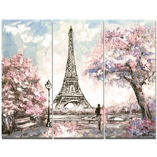 'Eiffel with Pink Flowers' Painting Print Multi-Piece Image on Canvas