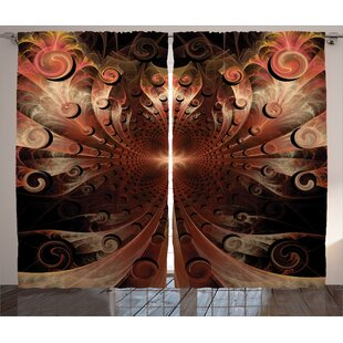 Medieval Metallic Heraldic Abstract Room Darkening Rod Pocket Curtain Panels (Set of 2) by East Urban Home