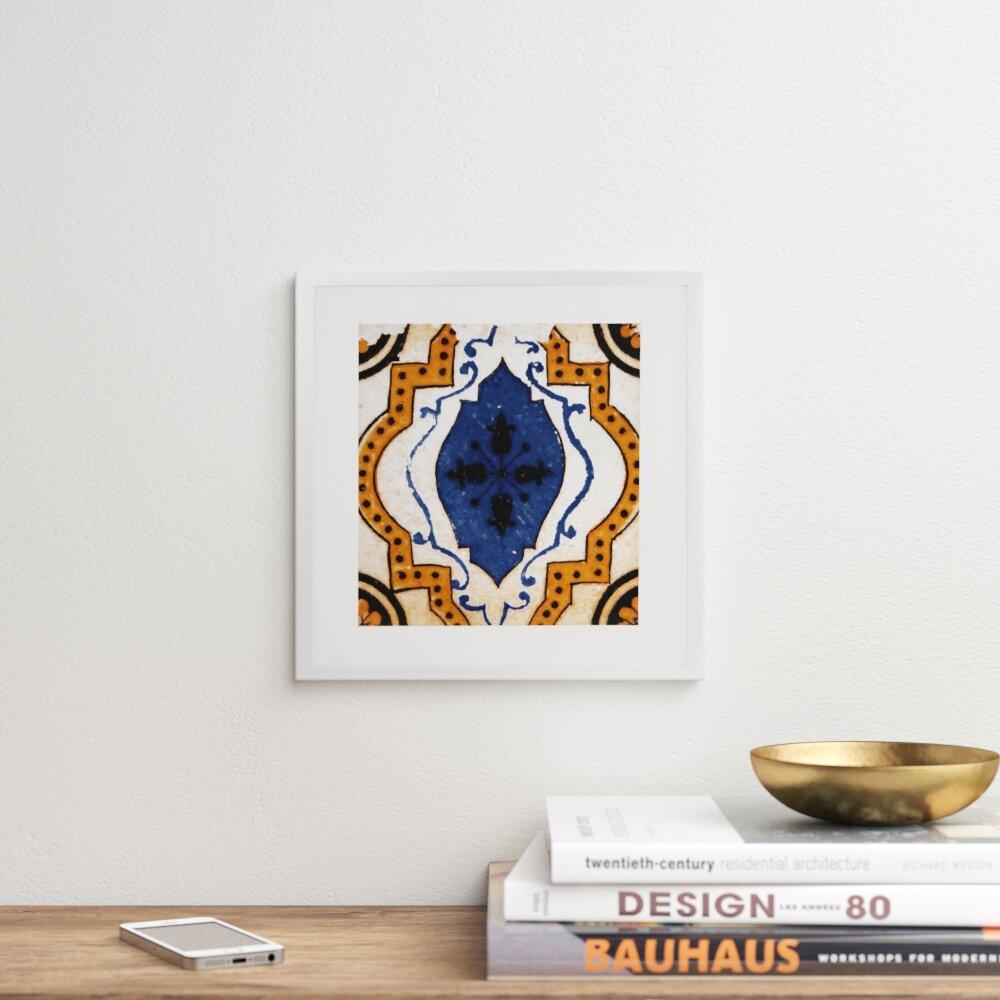 Moroccan Blue Tile Framed Graphic Art Print By Terri Ellis Picture Frame Graphic Art Print On Paper Allmodern