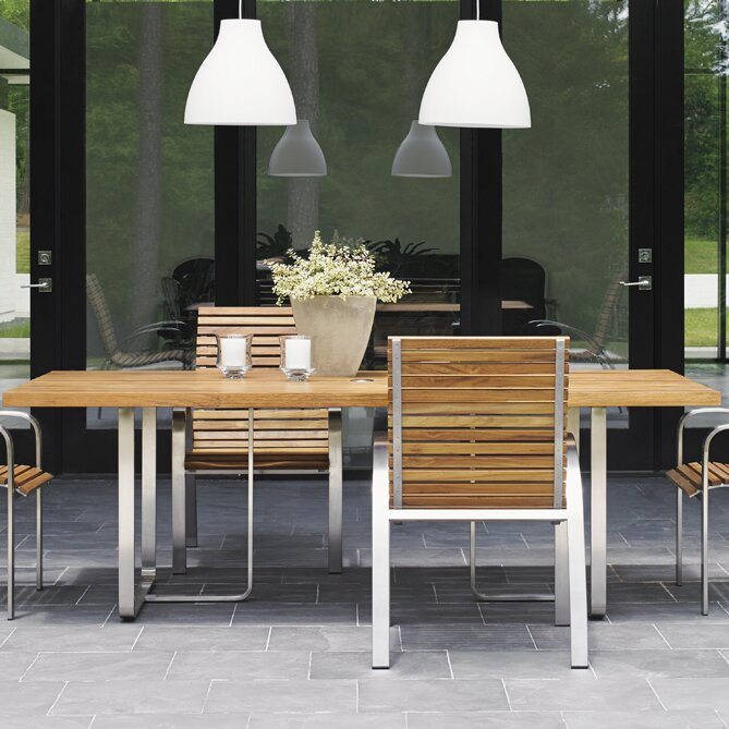 Tommy Bahama Outdoor Tres Chic Stainless Steel Dining Table ...